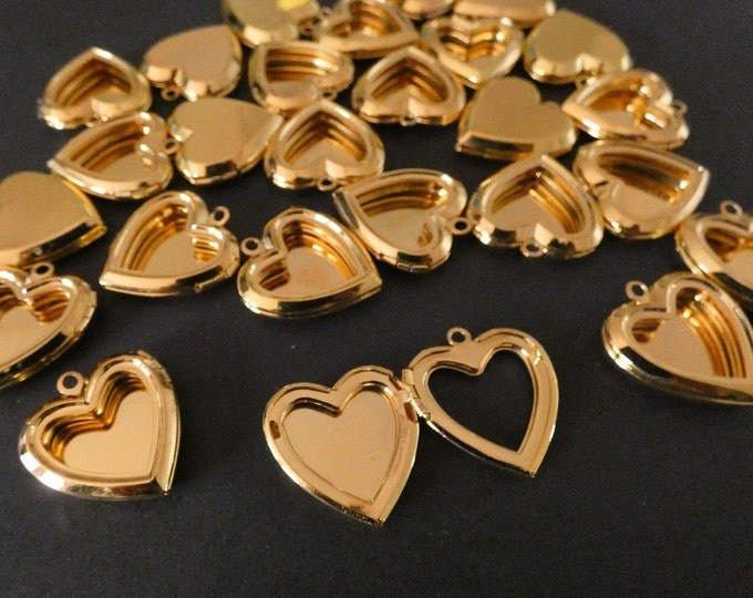 25x23mm Brass Heart Locket Pendant, Shiny Gold Color, Heart Pendant With Open Front, Metal Focal, DIY Jewelry Making, Photo Locket Charms