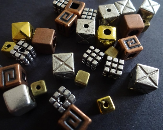 3-9mm Tibetan Style Cube Beads, 100 Piece Bead Mix, Metal Beads, Basic Cube, Square Bead Mix, Mixed Lot, Metal Cubes, Antique Bead, Cubed