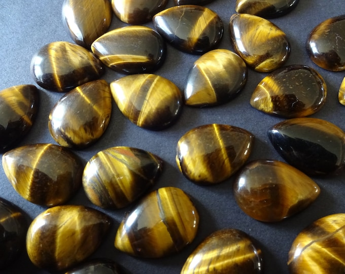 13mm Natural Tiger Eye Teardrop Cabochon, 13-14x9-10x5mm, Gemstone Cabochon, Beautiful Polished Gem, Neutral, Jewelry Making, Tear Drop