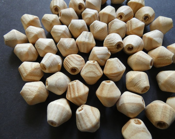 16x15mm Natural Unfinished Wood Beads, Wooden Chunky Bicone Bead, Natural Wooden Bead, Wood Grain, Brown Earthtone, Neutral, Real Wood Beads