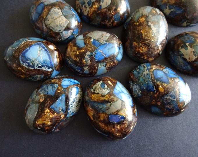 40x31mm Gold Copper Stone and Regalite Cabochon, Dyed, Synthetic, Polished Blue Gemstone Cab, Oval, Large Focal With Gold & Bronze Color