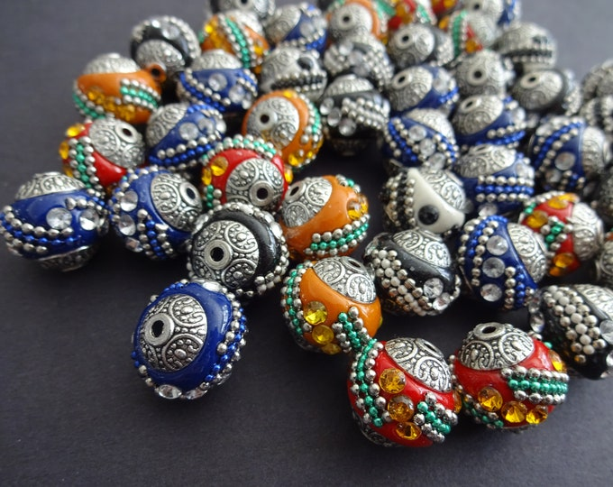 15mm Handmade Rhinestone Indonesia Ball Beads, Alloy Metal Cores, Intricate Ball Bead With Gemstones, Handcrafted, 2mm Holes, Mixed Color