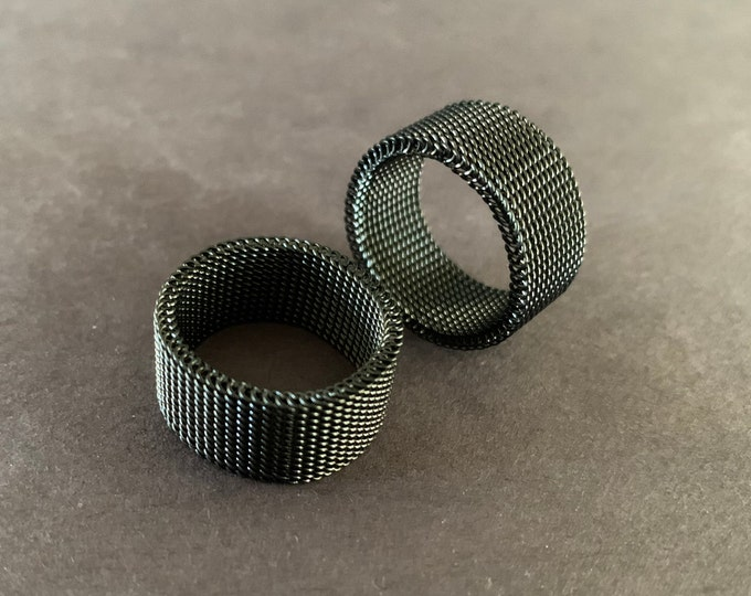 304 Stainless Steel Black Mesh Design Ring, Handcrafted Steel Band, Industrial Men's Ring, Chain Link, Men's Jewelry, Silver Color, Flexible
