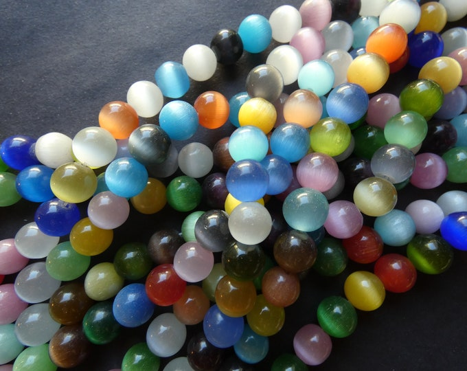 15.5 Inch 10mm Cat Eye Bead Strand, Ball Beads, About 40 Beads, Mixed Lot Of Colors, Mixed Cat Eye, Round Beads, Drilled Cateye, Cat's Eye