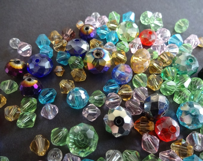 6-10mm Glass Electroplated Beads, Mixed Color and Style, Bicones, Round, Transparent, Electroplated, Clear, Arts and Crafts, Mixed Bead Lot