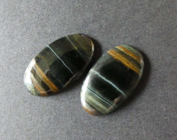 2 Pack 28x16mm Natural Tiger Iron Cabochon, Large Oval, Brown & Gray, One Of A Kind Set, As Seen In Image, Only 1 Available, Metallic Stone