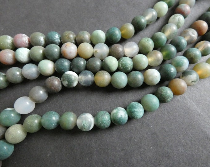 15.5 Inch 6mm Natural Frosted Indian Agate Ball Bead Strand, About 63 Beads, Green and Brown Stone Beads, Unfinished, Drilled Agate Beads