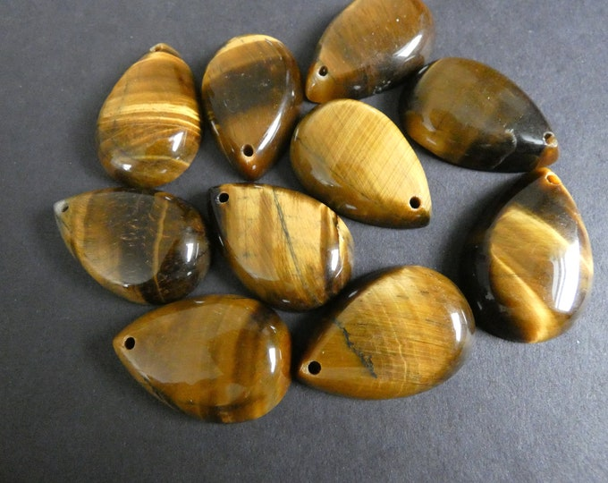 30x20mm Natural Tiger Eye Pendant, Drilled, Teardrop Pendant, Large Necklace Charm, Polished Gemstone Jewelry, Tigereye Teardrop, 1.5mm Hole