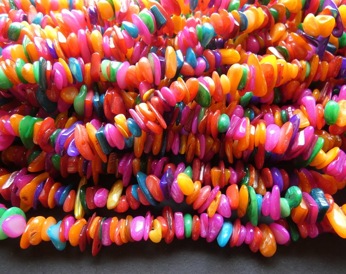 30 Inch 8-28mm Natural Freshwater Shell Bead Strand, Dyed, About 340-380 Beads, Rainbow Colors, Shell Nuggets & Chips, Drilled Seashell Bead