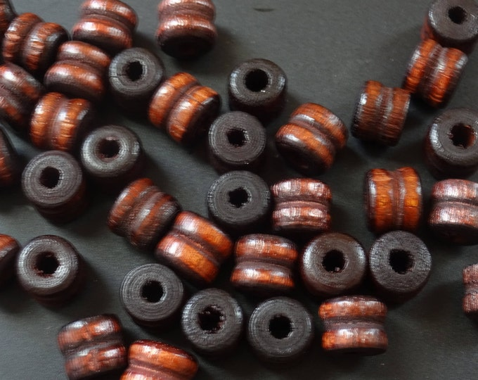 100 Double Rondelle Wood 10x9mm Bead Lot, Dyed and Coated Wood, Dark Brown Bead, Wooden Bead, Natural Bead, Earthy, Rounded, Brown Rondelles