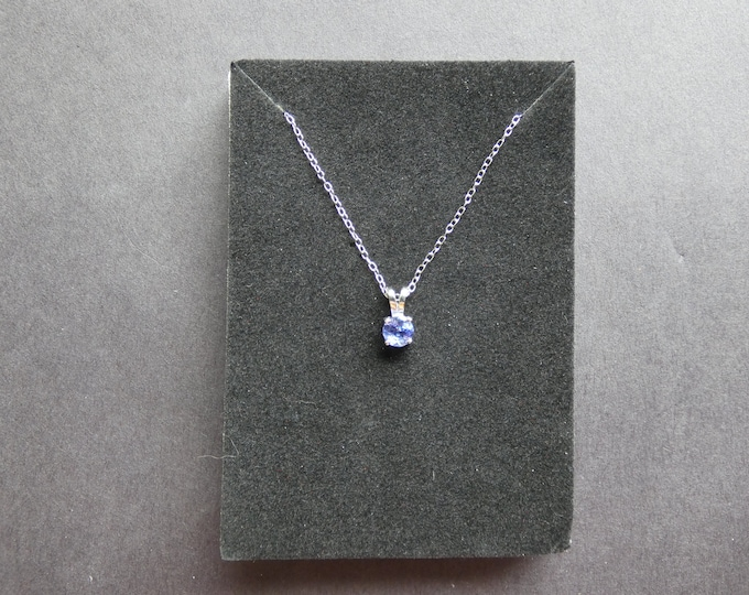 Sterling Silver & Natural Tanzanite Necklace, .5 Carat, Lobster Claw Clasp, Women's Stone Necklace, Blue Gemstone Pendant, Genuine Gem