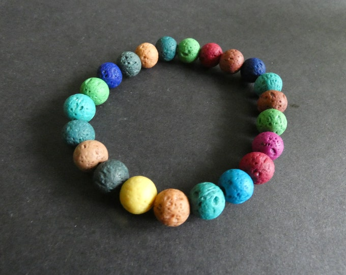Natural Lava Stone Stretch Bracelet, Dyed, Mixed Color, 8mm Stone Ball Beads, Stretchy Colorful Ball Bead Bracelet, Great For Kids!