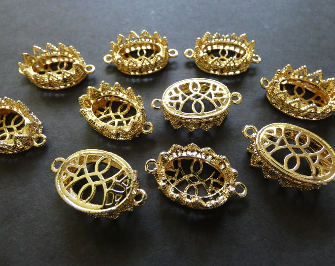 10x15mm Alloy Metal Connector Setting, 28x15,5mm, 10x15 Tray, Oval Stone Setting, Gold Color, Add Your Own Cabs, DIY Rhinestone Setting