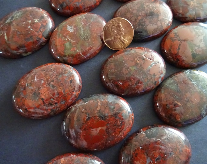 40x30mm Natural Brecciated Jasper Gemstone Cabochon, Oval Cabochon, Polished Gem, Stone Cabochon, Natural Gemstone, Polished, Jasper Stone