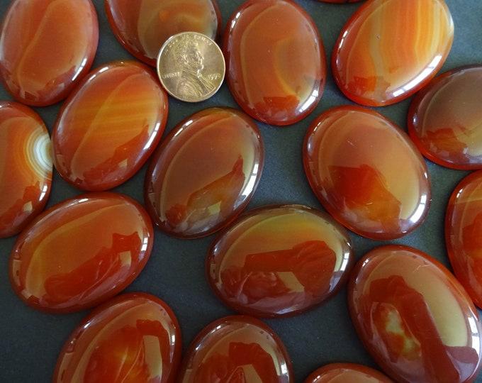 40x30mm Natural Striped Agate Gemstone Cabochon, Oval Cabochon, Polished Agate, Brown Cabochon, Natural Stone, Agate, Striped, Swirls