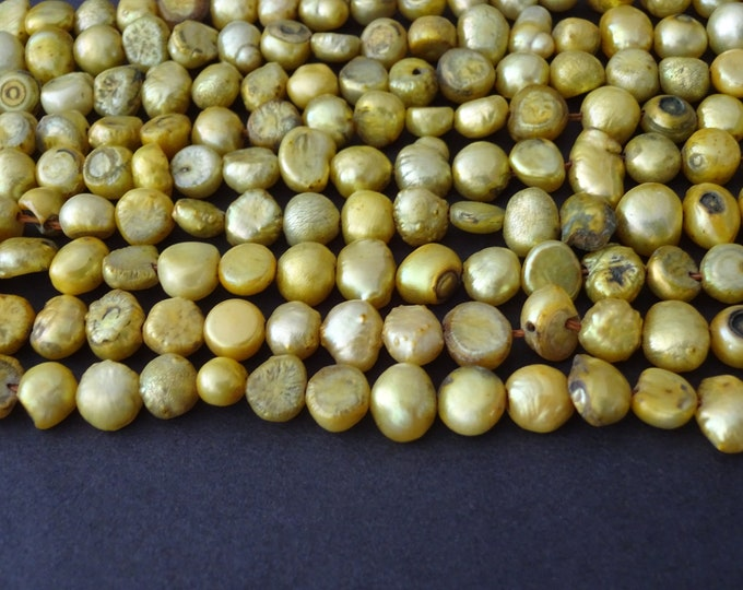 16 Inch Strand Green Cultured Freshwater Pearl Beads, dyed, About 62 Beads, 6-7mm Flat Sided Potato, Pearls, Pear Green Color, Nautical