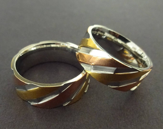 Tricolor 304 Stainless Steel Ring, Stainless Steel Band, Lined Band, Lined Ring, Wide Band, Silver, Rose Gold & Yellow Gold Color, Tri Color