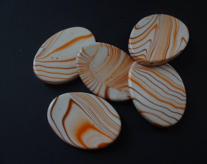 35mm Swirled Curved Oval Bead, Acrylic Bead, Flat Oval, Striped, Swirls, Orange and Brown Swirl, 35x26mm, White Bead, Chunky Bead, Drilled