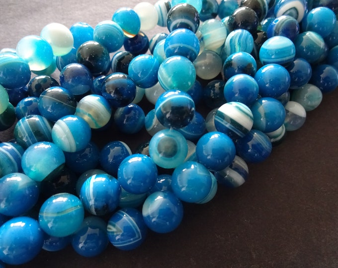 10mm Natural Striped Agate Ball Bead Strand, Dyed, About 38 Beads, 15.75 Inch Strand, Round Bead, Precious Stone, Blue and White Stripe Bead