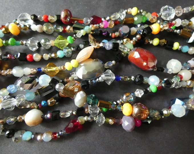 15.5 Inch Mixed Electroplated Glass Bead Strand, 2-15mm, About 85-100 Beads, Mixed Shape & Size, Glass Bead Mixed Lot, Handpicked Bead Lot