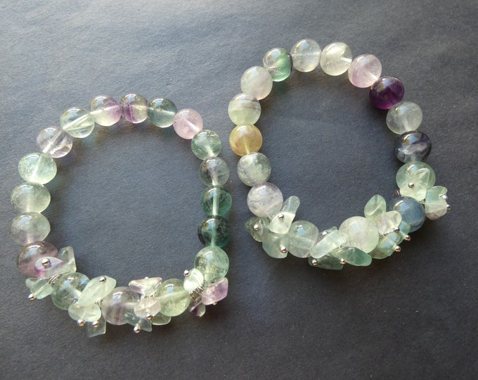 Stretchy Natural Fluorite Bracelet, Fluorite 10mm Ball Beads and Chips, Stretchy Cord, Purple & Green, Womens Gemstone Bracelet, Handcrafted