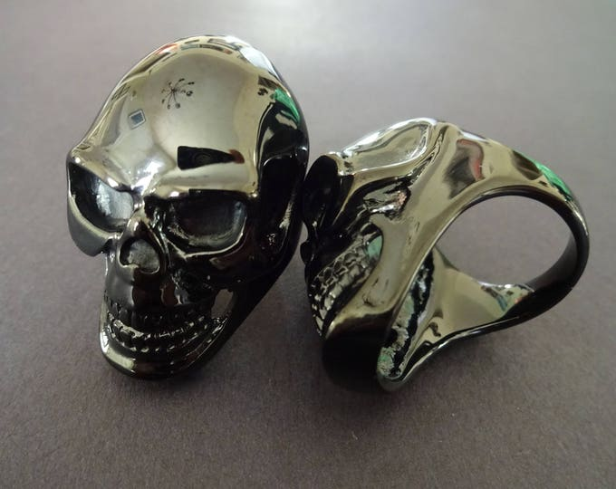 Gunmetal Skull 316L Stainless Steel Ring, Skull Ring, Gunmetal Ring, Skull Jewelry, Halloween Ring, Skull Band, Skeleton Ring, Metal Skull
