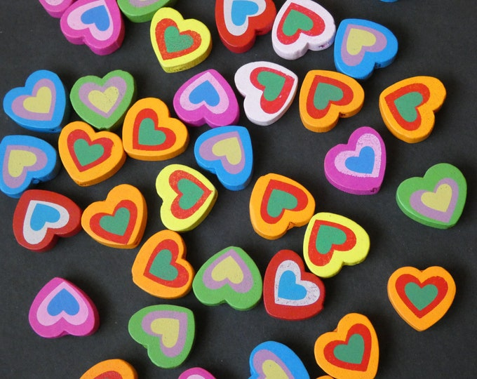 18x17mm Dyed Wooden Heart Beads, Mixed Variety, Multicolor, Bright, Colorful, Wood Love Bead Mix, Festive and Fun, Rainbow, Hand Detailed