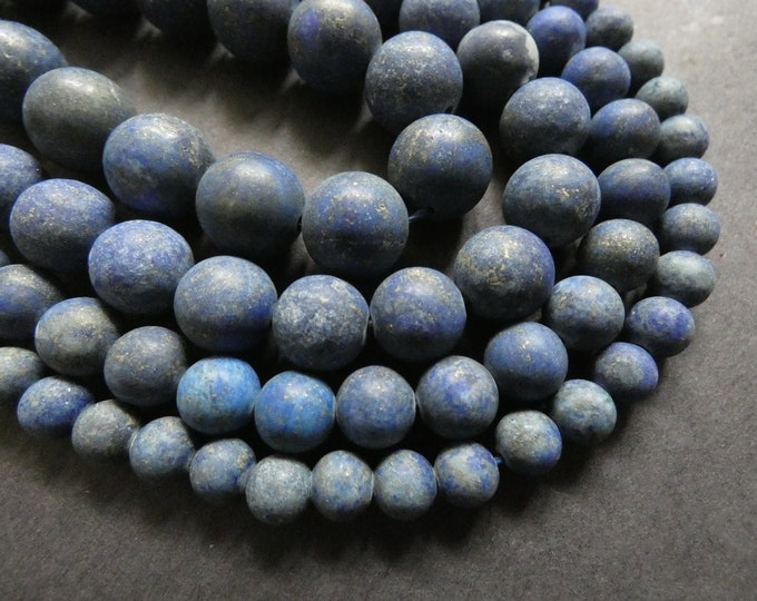 15 Inch 6-12mm Natural Lapis Lazuli Frosted Bead Strand, Dyed, About 30-65 Beads Per Strand, Ball Bead, Blue & Gold, Stone Bead, Unfinished