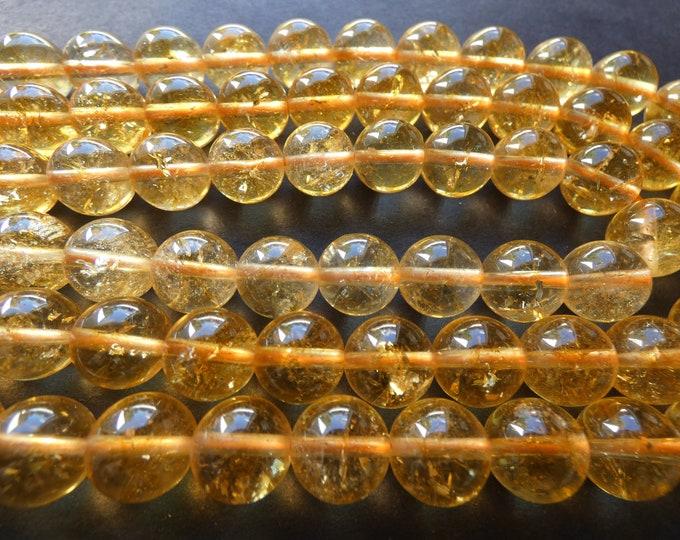 15.5 Inch 10mm Natural Citrine Ball Bead Strand, About 38 Beads, 10mm Round, Transparent Yellow, Polished Stone, Citrine Quartz Gemstone