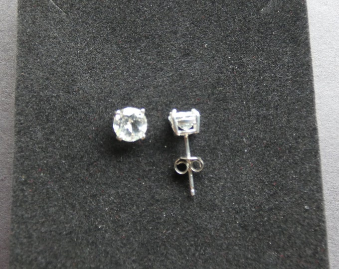 2ct Sterling Silver & Natural White Topaz Earrings, Round Studs, Women's Stone Jewelry, White Gemstones, Opalescent, Stud Earrings