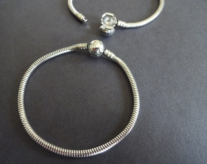 304 Stainless Steel Snake Chain Bracelet, Silver Color, 7.25 Inches Long, Bracelet Making, Ball Closure, Metal Chain, Classic, Make Your Own