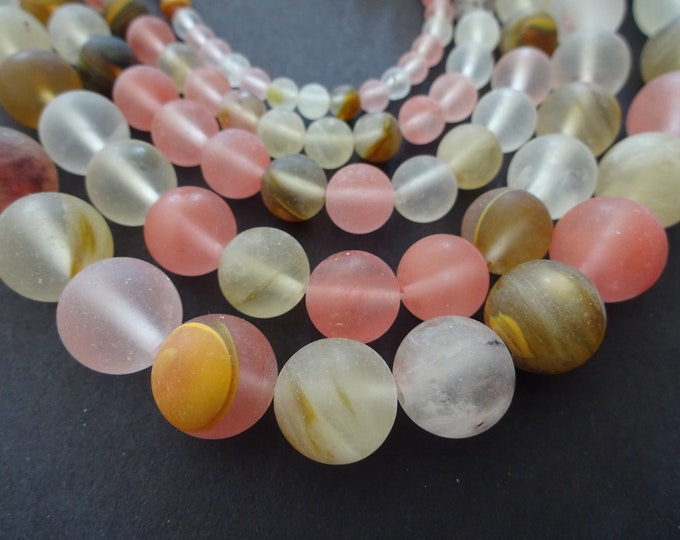 4-12mm Tigerskin Frosted Glass Ball Beads, 14-15 Inch Strand, 32-90 Beads, Pink, Clear Translucent, 4mm, 6mm, 8mm, 10mm, or 12mm, Unfinished