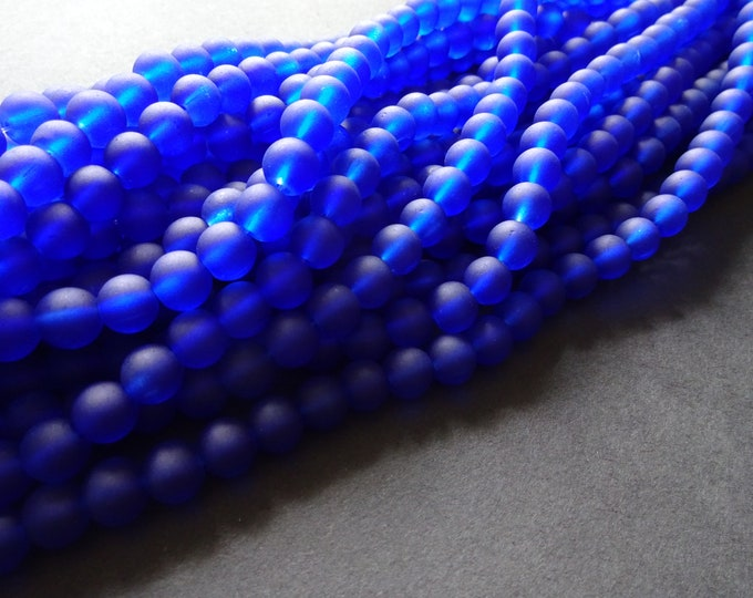 8mm Blue Glass Frosted Bead Strand, About 105 Beads Per Strand, Round, 31 Inch Strand, Transparent, Bright, Round Bead, Jewelry Supply, Navy
