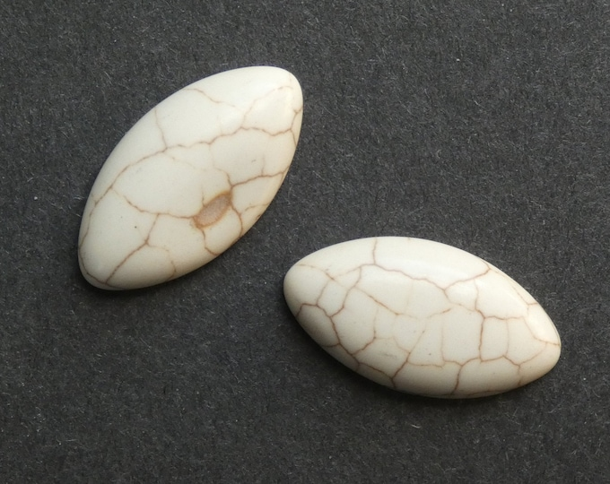 31x17x7mm 2pc Natural Howlite Cabochon, Large Marquise, White, One Of A Kind, As Seen In Image, Only One Available, Natural Howlite Cabochon