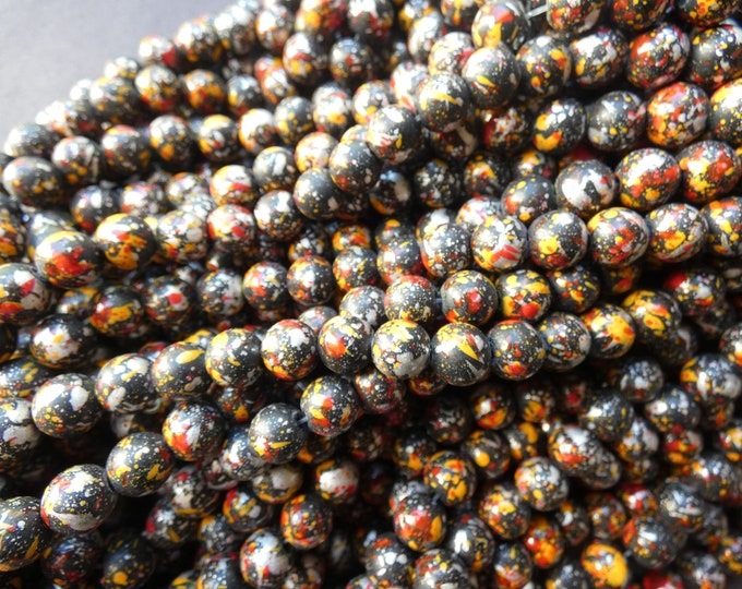 31 Inch Baked Glass Bead Strand, 8mm Ball Beads, Dyed, About 100 Beads Per Strand, Black, Orange & Red, 1mm Hole, Painted, Metallic Spots