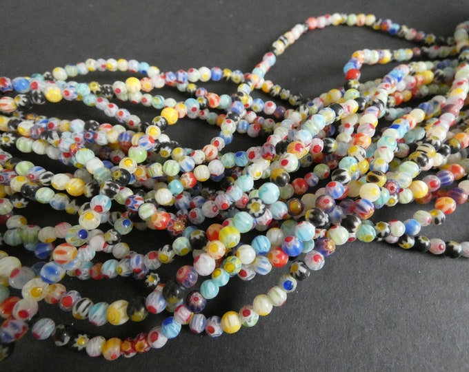 14 Inch 4mm Glass Millefiori Bead Strand, About 90 Glass Ball Beads, Flower Design, Mixed Lot, Multicolor Bead, Small Ball Spacer Bead