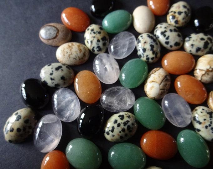 Set of 5 Oval Mixed Lot Gemstone Cabochons, 16x12x5mm, Oval Cabochon, Polished, Stone Cabochon, Natural Gemstone, Jasper, Quartz, Agate