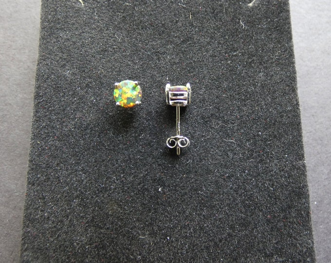 925 Sterling Silver & Opal Stud Earrings, Round Studs, Rainbow Stone, Semi Transparent, Opalescent Color, Silver Studs For Women