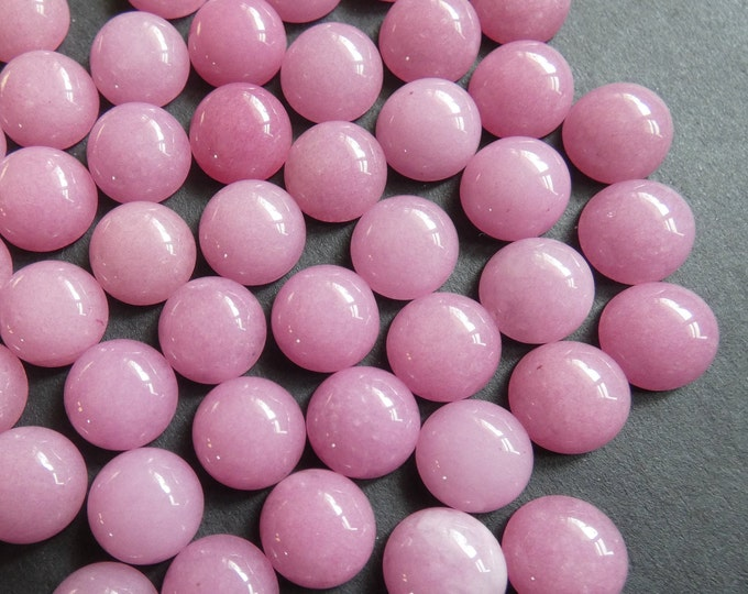 10mm Natural White Jade Gemstone Pink Cabochon, Dyed, Round Cab, Half Dome, Polished Stone, Pink Gemstone, Natural Stone, Jade Stone Cab