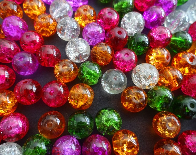 8mm Crackle Glass Ball Bead Mix, Rainbow Mix, Mixed Lot, Transparent, Vibrant Bright Jewelry Beads, Round, Pink, Orange, Red and Green
