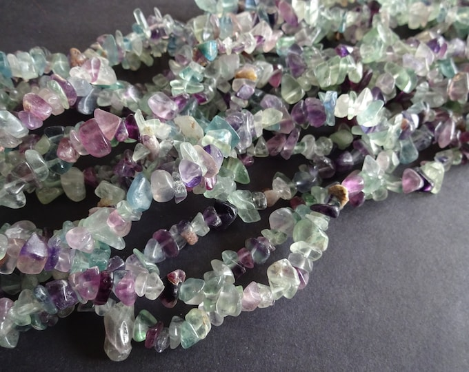 250+ Natural Fluorite Chip Beads, 33 Inch Strand, 5-8mm Each Stone, Purple and Green Chips, Small Drilled Nuggets, Gemstones, Mixed Color