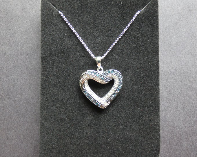 1/2 Carat Diamond and Sterling Silver Necklace, Blue and White Diamonds, Lobster Claw Clasp, Gemstone Heart Pendant, Genuine Gems, Valentine
