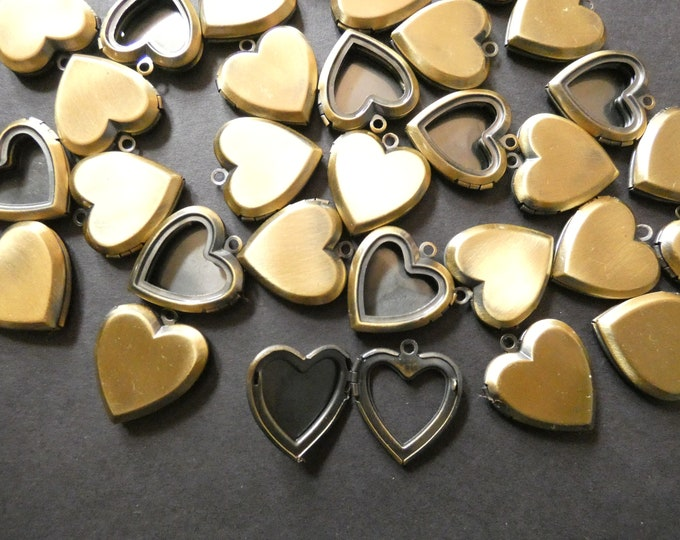 25mm Brass Heart Locket Pendant, Antiqued Bronze, Heart Pendant With Open Front, Metal Focal, DIY Jewelry Making, Photo Locket Charms