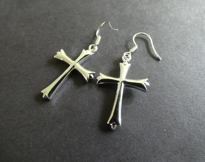 Brass Cross Earrings, Metal Dangle, Religious Theme, Silver Color, Crosses, Hook Earrings, 32x19mm, First Communion Gift, Cross Dangles