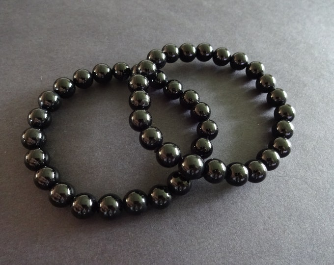 Natural Black Agate Stretch Bracelet, 8mm Ball Beads, Solid Black, Stretchy Cord, Chic Classic Gemstone Bracelet, Unisex Stone Bracelet