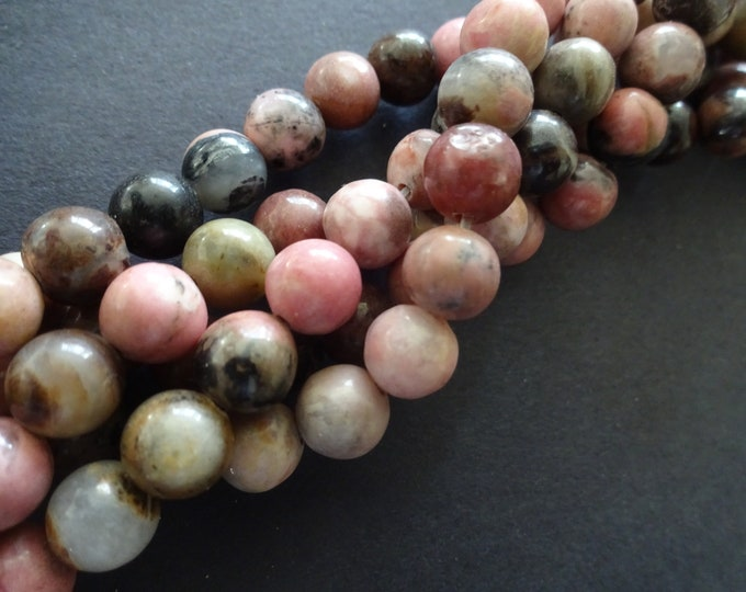 8-8.5mm Natural Rhodonite Ball Beads, 15.5 Inch Strand, About 47 Gemstone Beads, Round Stone, Pink and Black Gemstone, Marbled Pattern