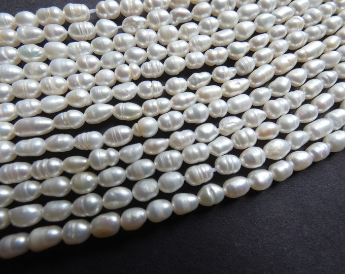 7 Inch 4-5mm Natural Freshwater Pearl Bead Strand, About 27 Beads, Rounded Rice Shape, Pearls, White Pearl Beads, Pearl Jewelry Making