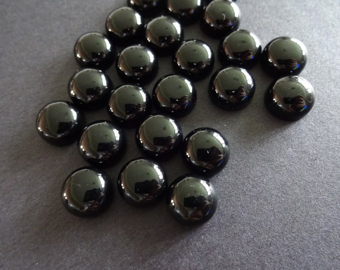 10x5mm Natural Black Agate Cabochon, Round Cabochon, Polished Gem, Natural Stone, Dome Gemstone Focal, Classic Solid Black Color, Button