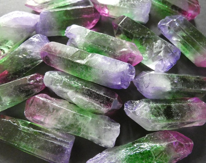 5 PACK 25-65mm Natural Quartz Crystal, Unfinished, Free Form Bullet Shaped, Gemstone Jewelry, Purple & Green, No Hole, Wire Wrapping Gems