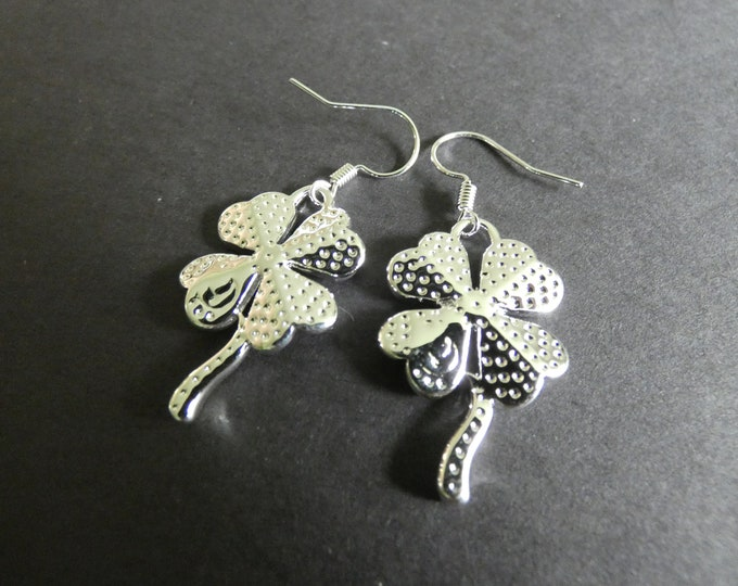 Silver Plated Brass Four Leaf Clover Earrings, Metal Dangles, Silver Color, Good Luck Charms, St. Patrick's Day, Clover Dangles, Leaves